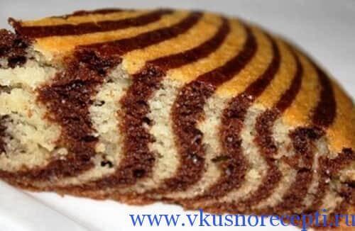 рецепт пирог зебра на сметане