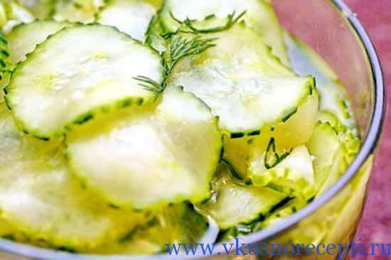 рецепт салата из огурцов с луком на зиму